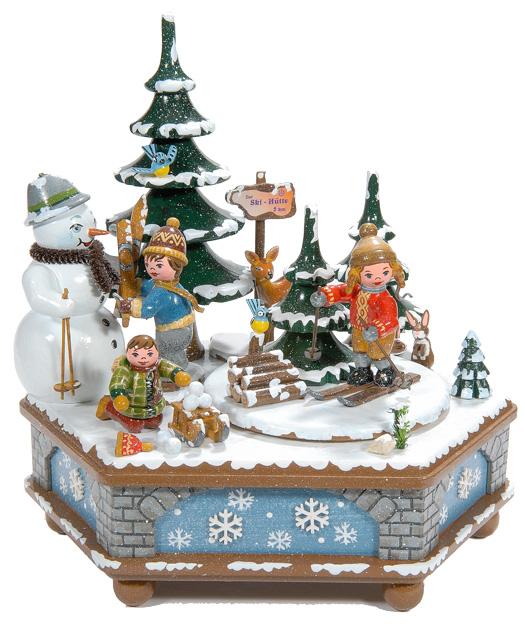 boite musique allemande hubrig winterkinder enfants et bonhomme de neige. Black Bedroom Furniture Sets. Home Design Ideas