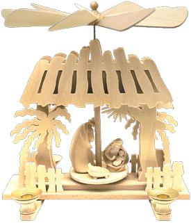 Crèches de Noel en bois allemandes pyramides à bougies