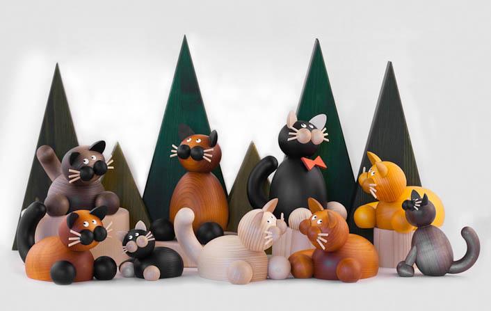 collection de chats en bois peint